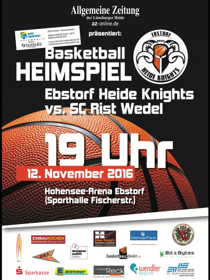 Ankündigung Heimspiel gegen SC Rist Wedell am 12.11.2016